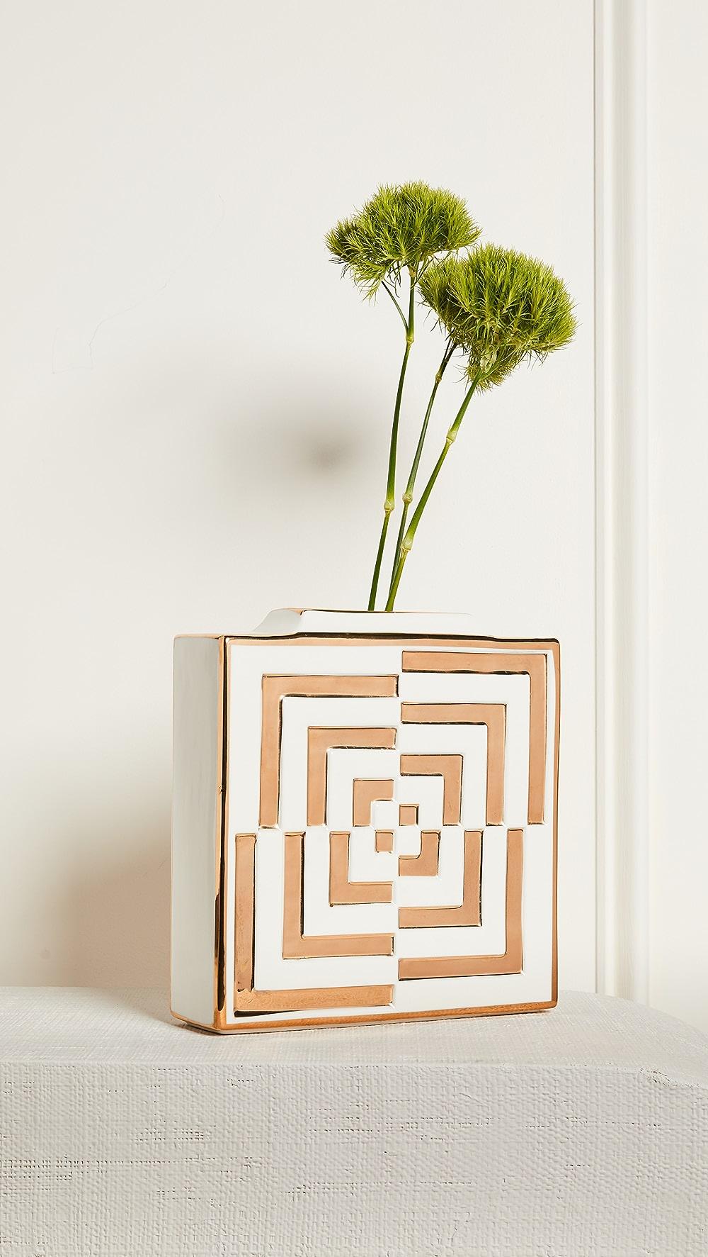 Adroit Jonathan Adler - Futura Op Art Square Vase Luxuriant In Design