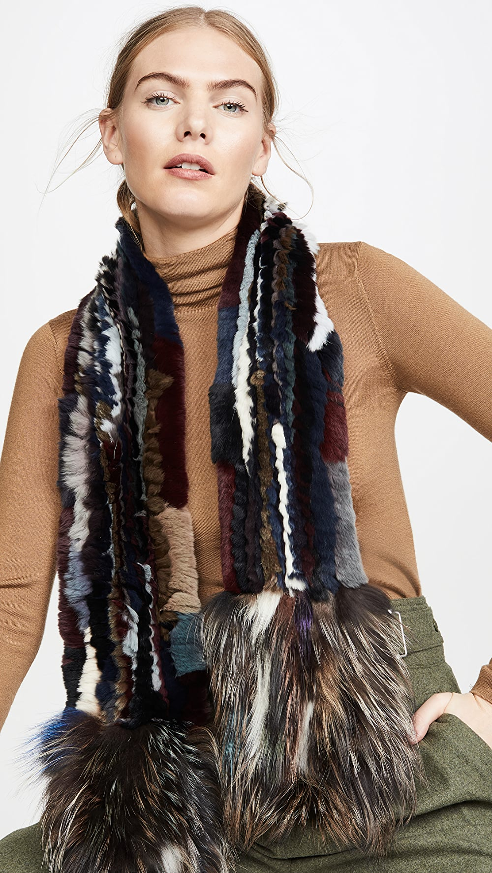 Collection Here Adrienne Landau - Knit Rex Rabbit Scarf With Fox Trim Fixing Prices According To Quality Of Products