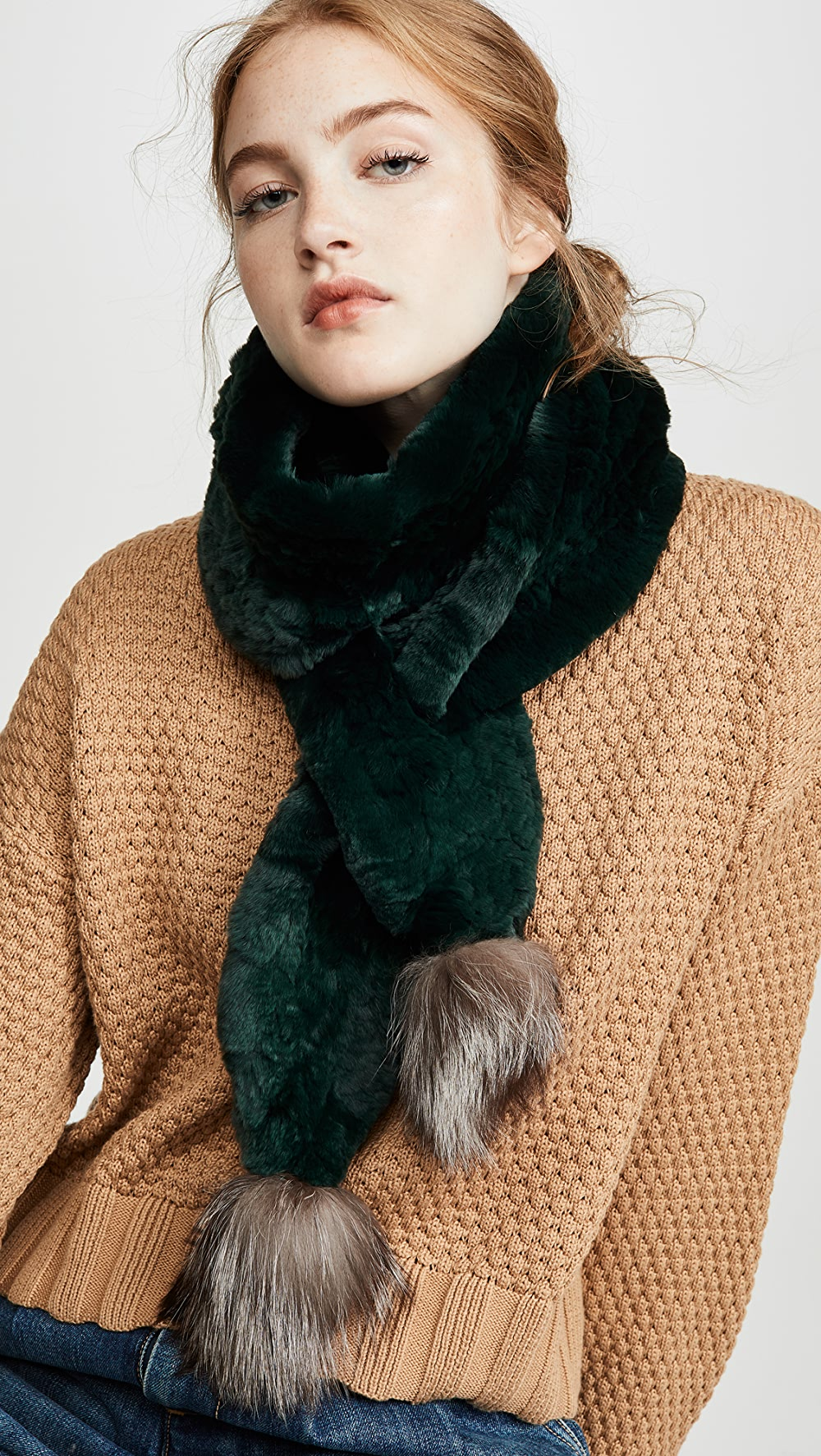 Earnest Adrienne Landau - Knit Rabbit Scarf With Fox Poms Fixing Prices According To Quality Of Products