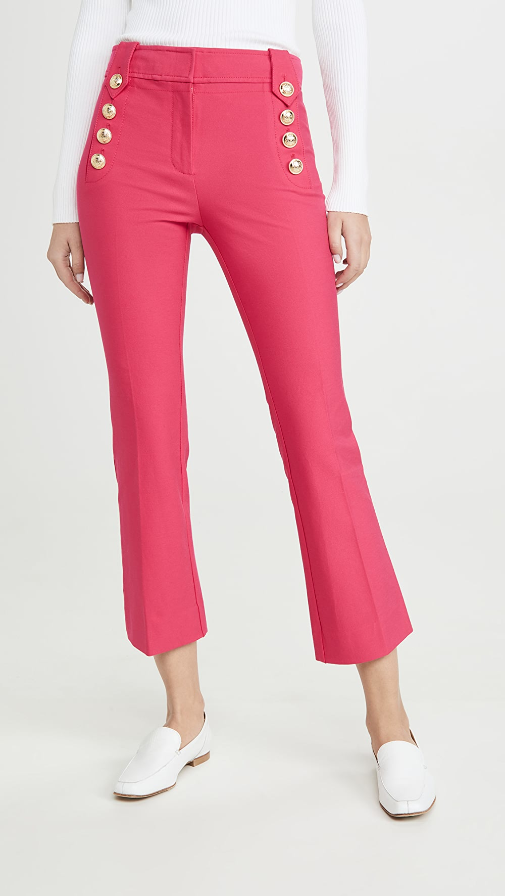 Able Derek Lam 10 Crosby - Robertson Cropped Flare Trousers With Sailor Buttons Wide Varieties