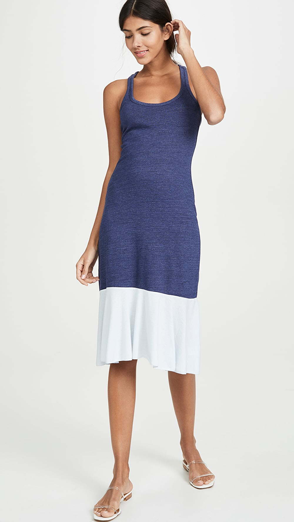 Practical Chaser - Racerback Midi Dress With Peplum Hem Good For Antipyretic And Throat Soother
