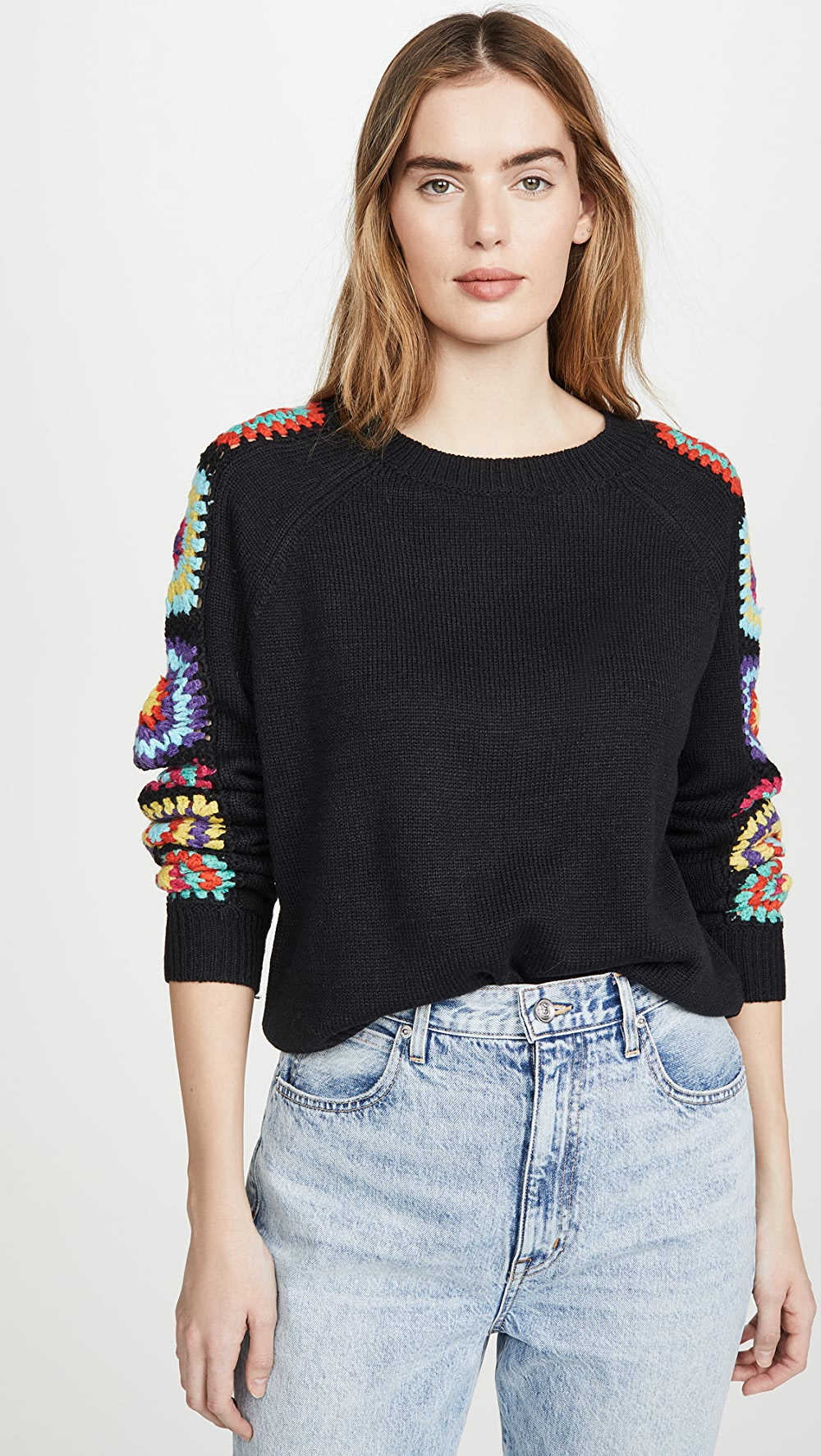 Able Dna - Black Crochet Sweater Strong Resistance To Heat And Hard Wearing
