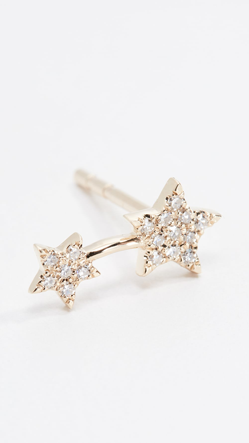 100% Quality Ef Collection - 14k Single Diamond Double Star Stud Earring Preventing Hairs From Graying And Helpful To Retain Complexion