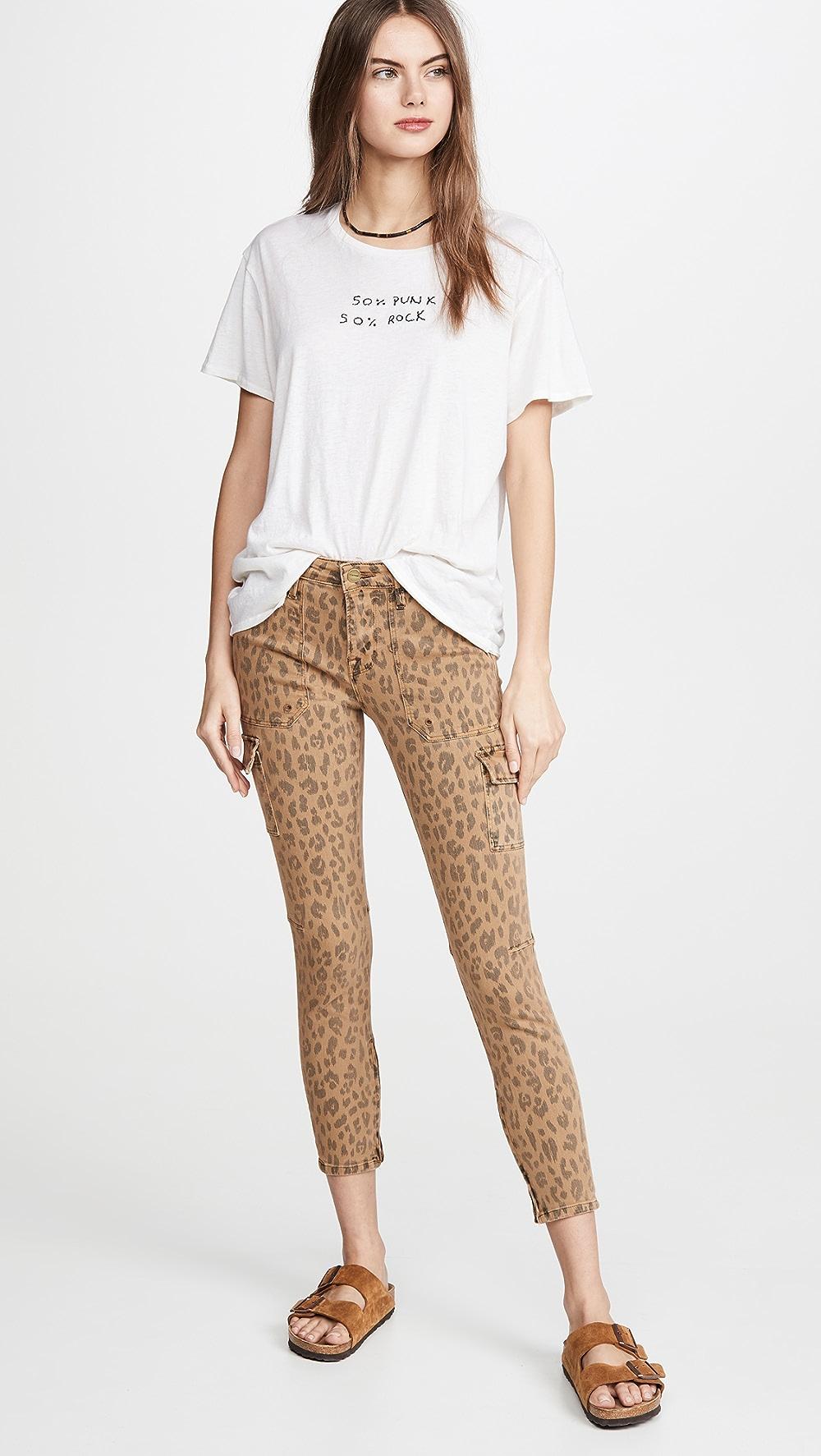 Spirited Frame - Spring Cheetah Cargo Skinny Jeans Waterproof, Shock-Resistant And Antimagnetic