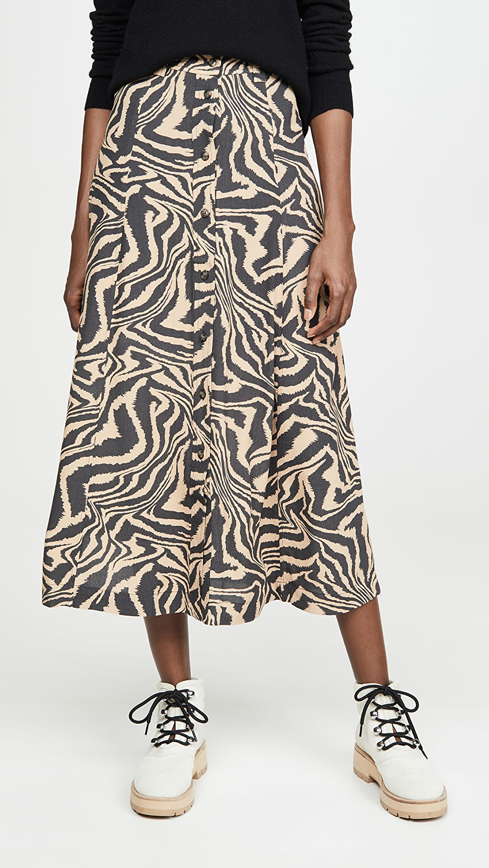 Beautiful Ganni - Printed Crepe Skirt Wide Varieties