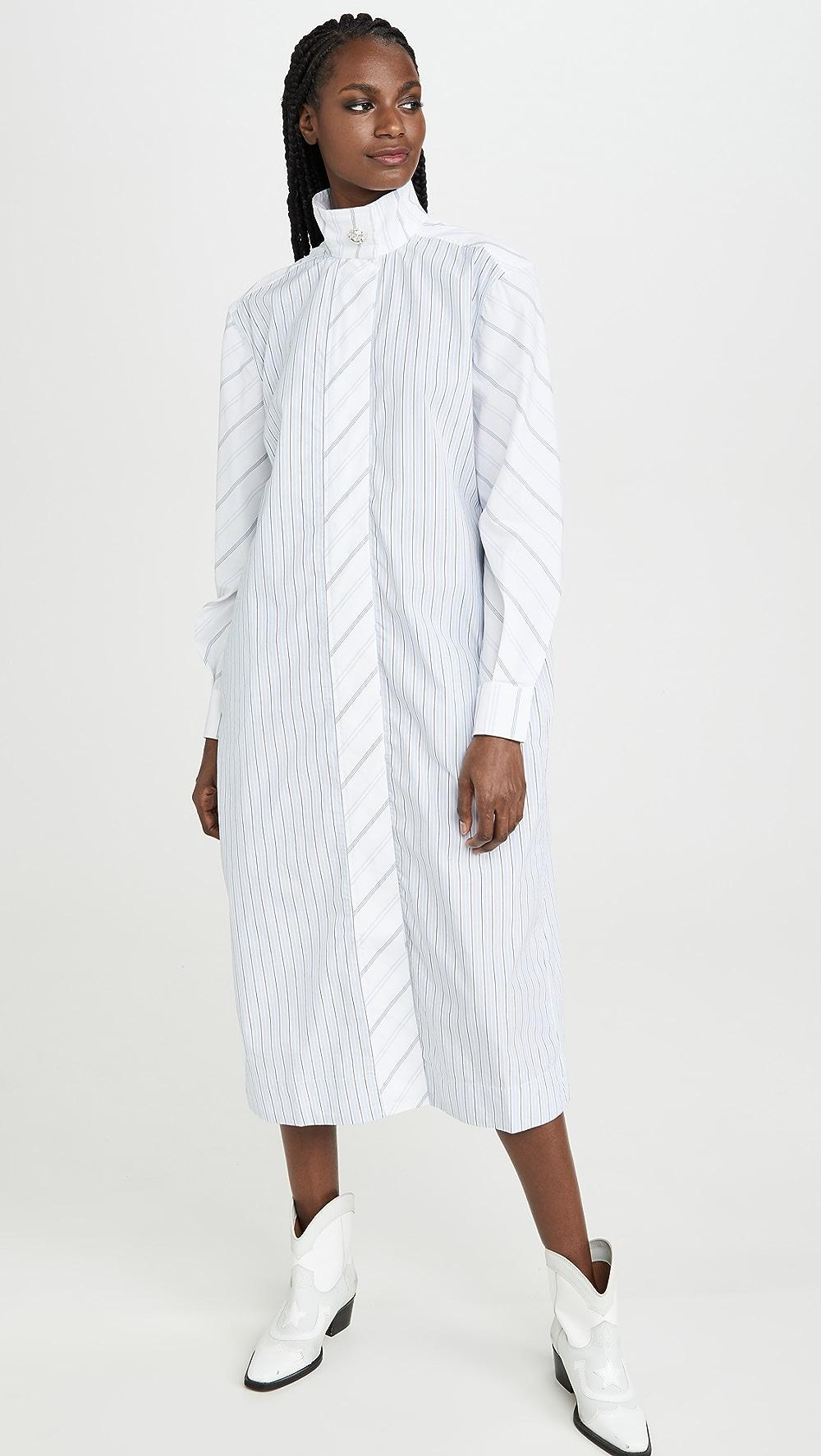 Diplomatic Ganni - Shirting Cotton Dress Elegant Shape