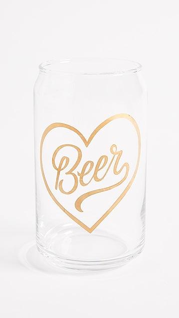 礼物精品馆Beer心形玻璃杯