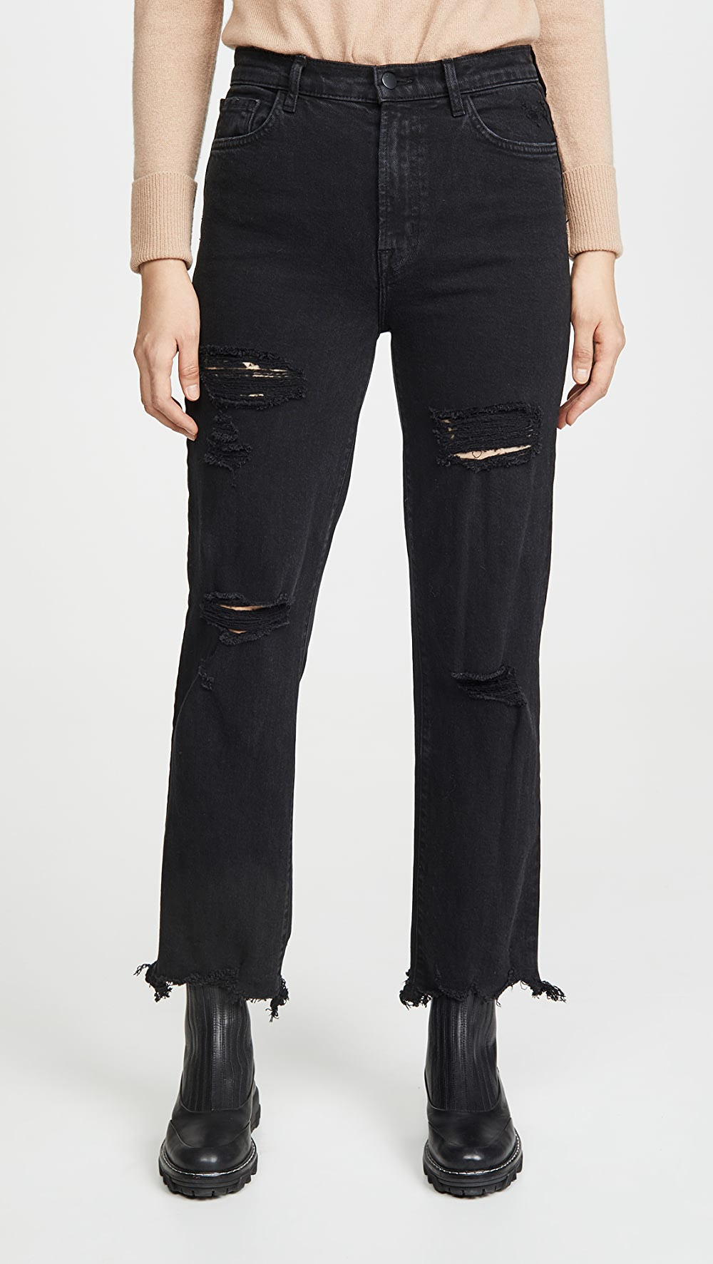100% True J Brand - Jules High Rise Straight Jeans Carefully Selected Materials
