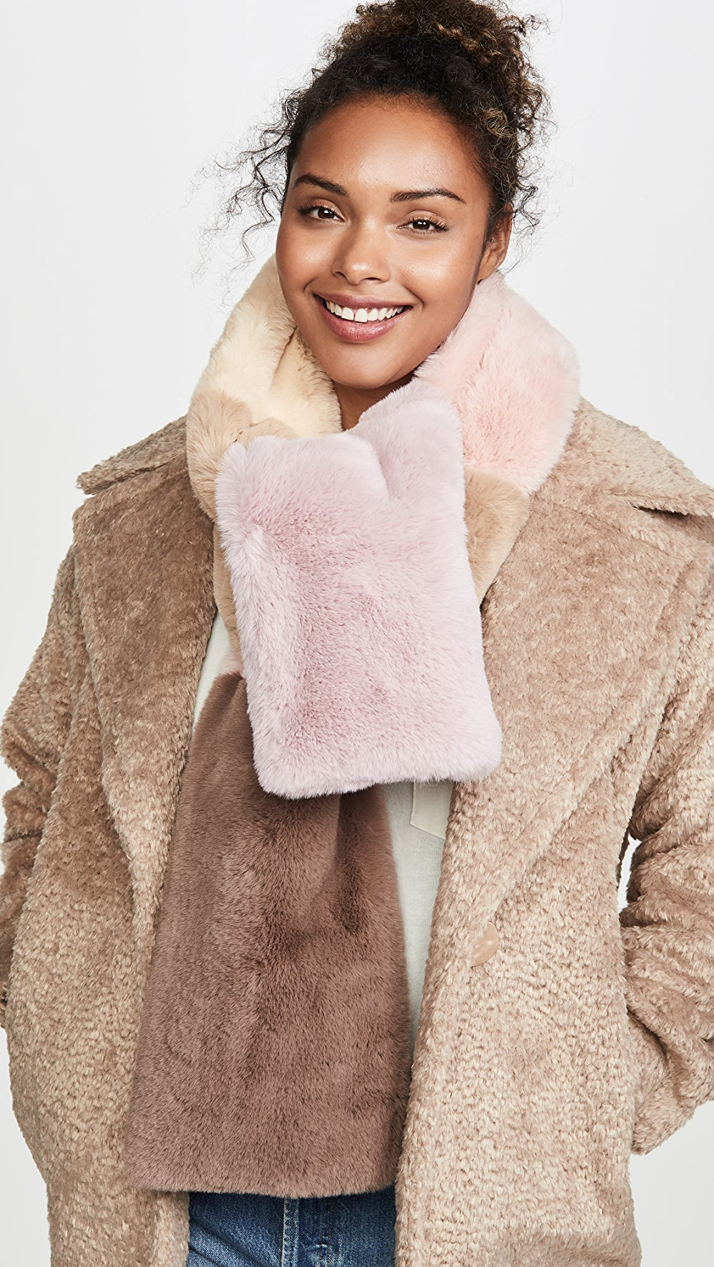 Dependable Jocelyn - Faux Fur Wide Colorblock Scarf A Great Variety Of Models