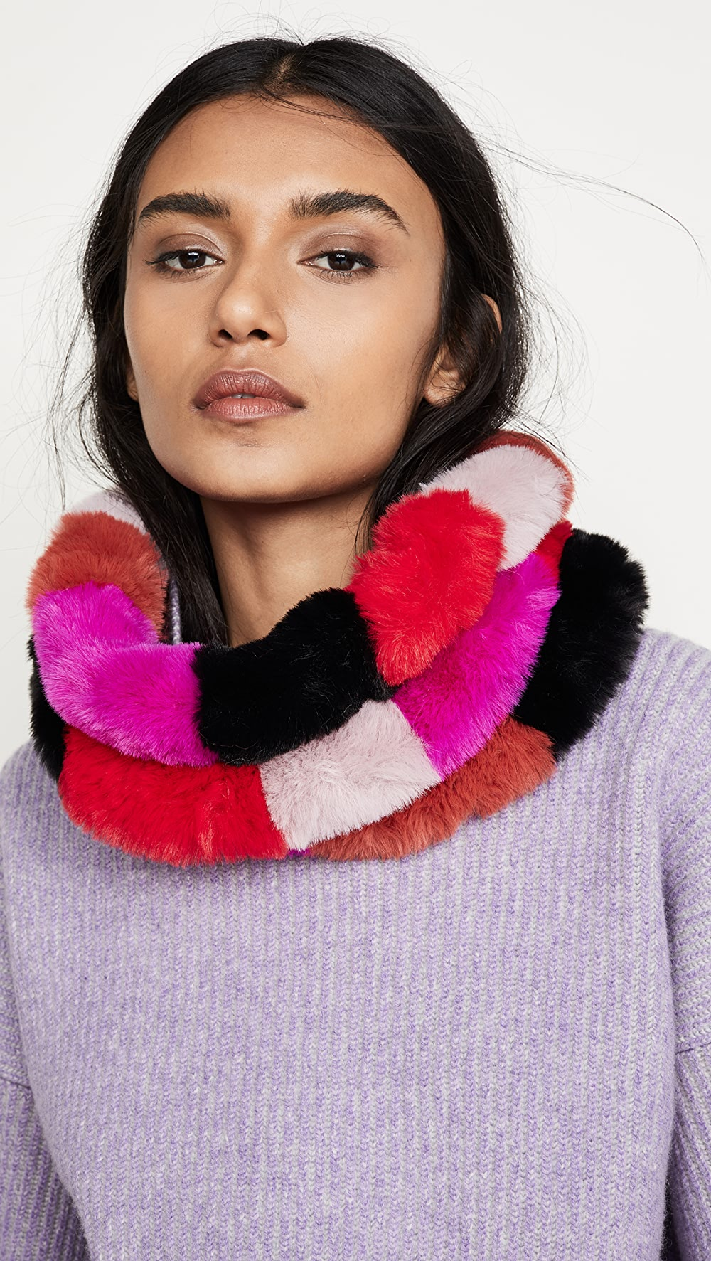 Ambitious Jocelyn - Faux Fur Three Row Multi Colored Cowl Strengthening Waist And Sinews