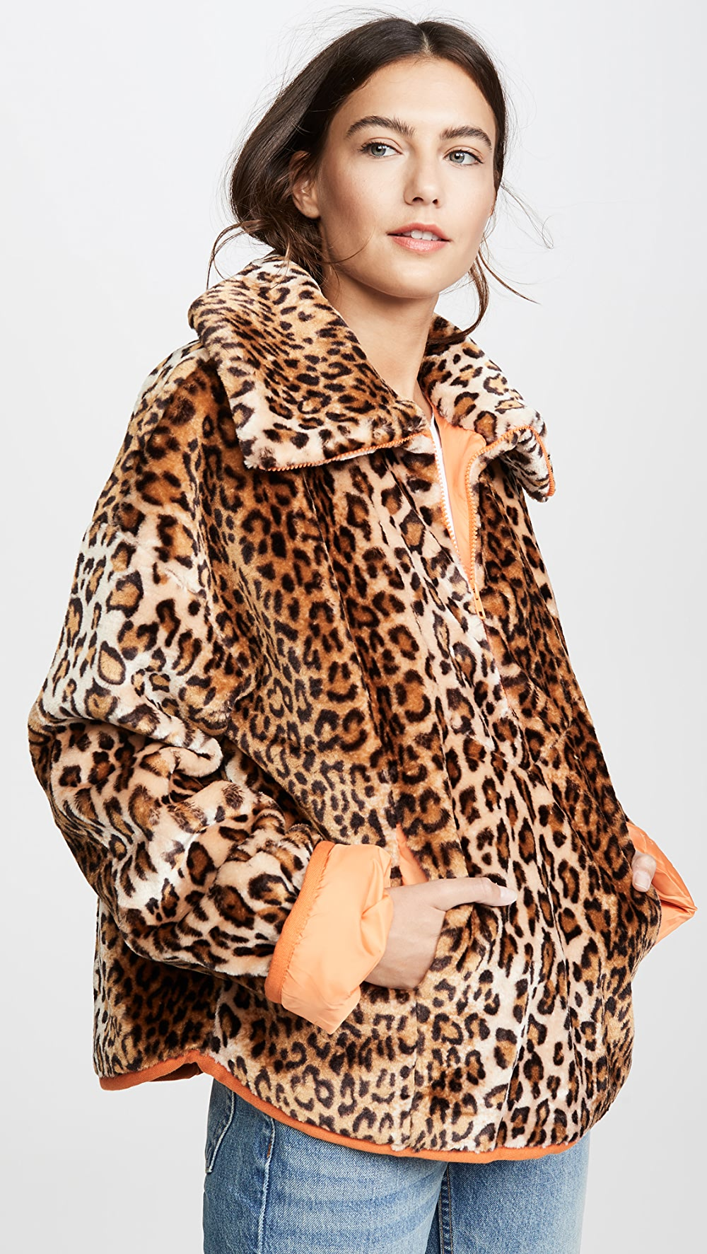 Amicable J.o.a. - Leopard Half Zip Jacket In Many Styles