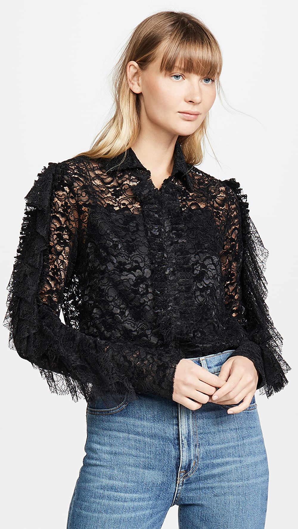 100% Quality Anais Jourden - Black Velvet Lace Shirt With Ruffles With A Long Standing Reputation