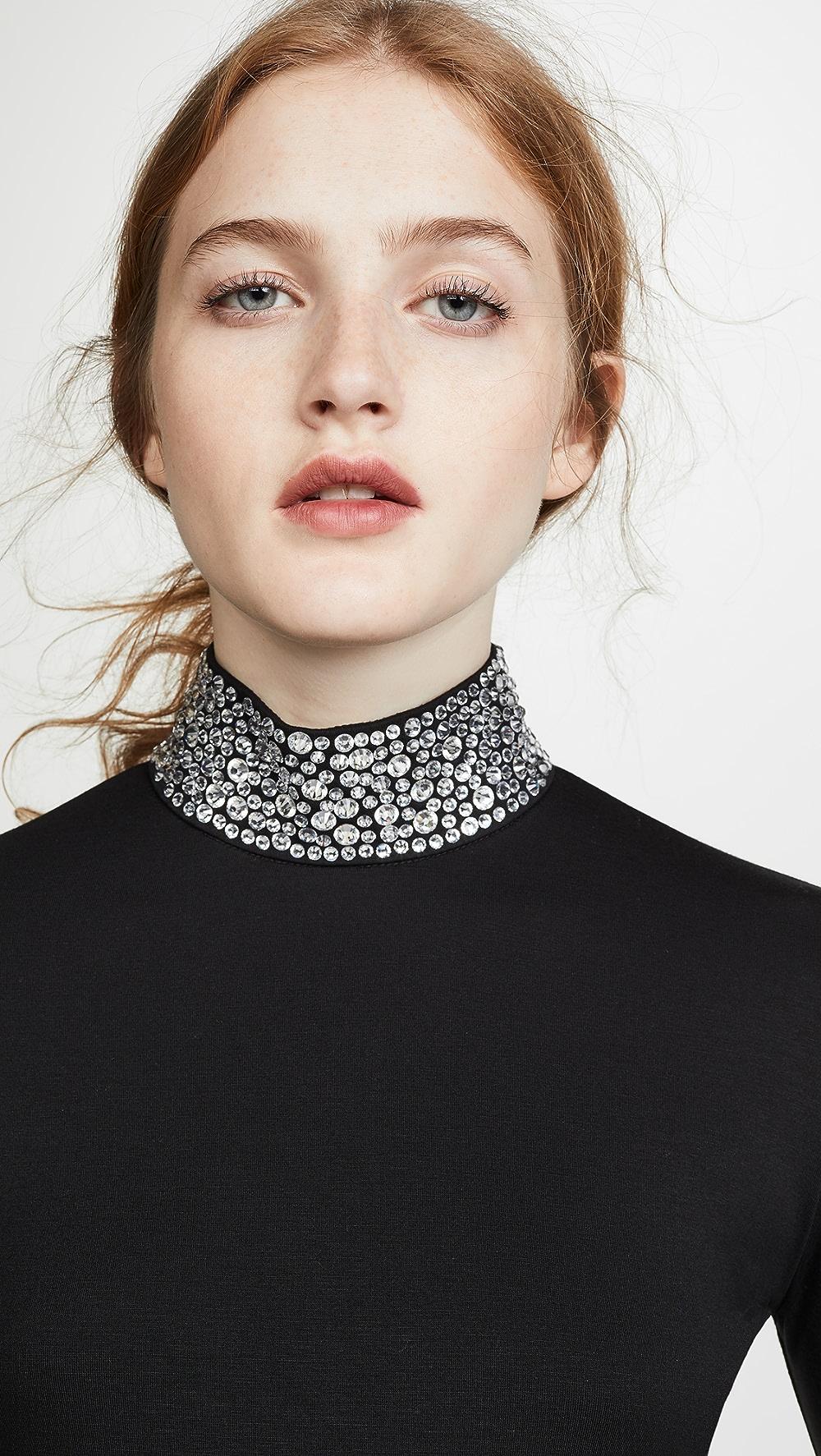 100% True L'agence - Mya Embellished Mock Neck Top Elegant Shape