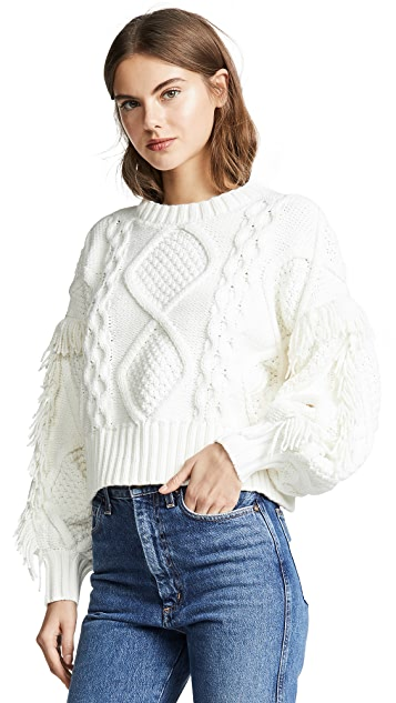 Cream color cable-knit sweater