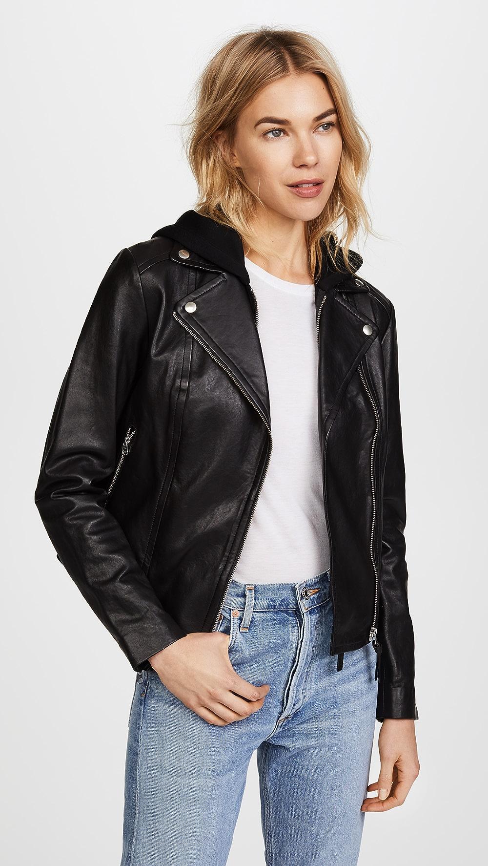 Alert Mackage - Yoana Leather Jacket Waterproof, Shock-Resistant And Antimagnetic