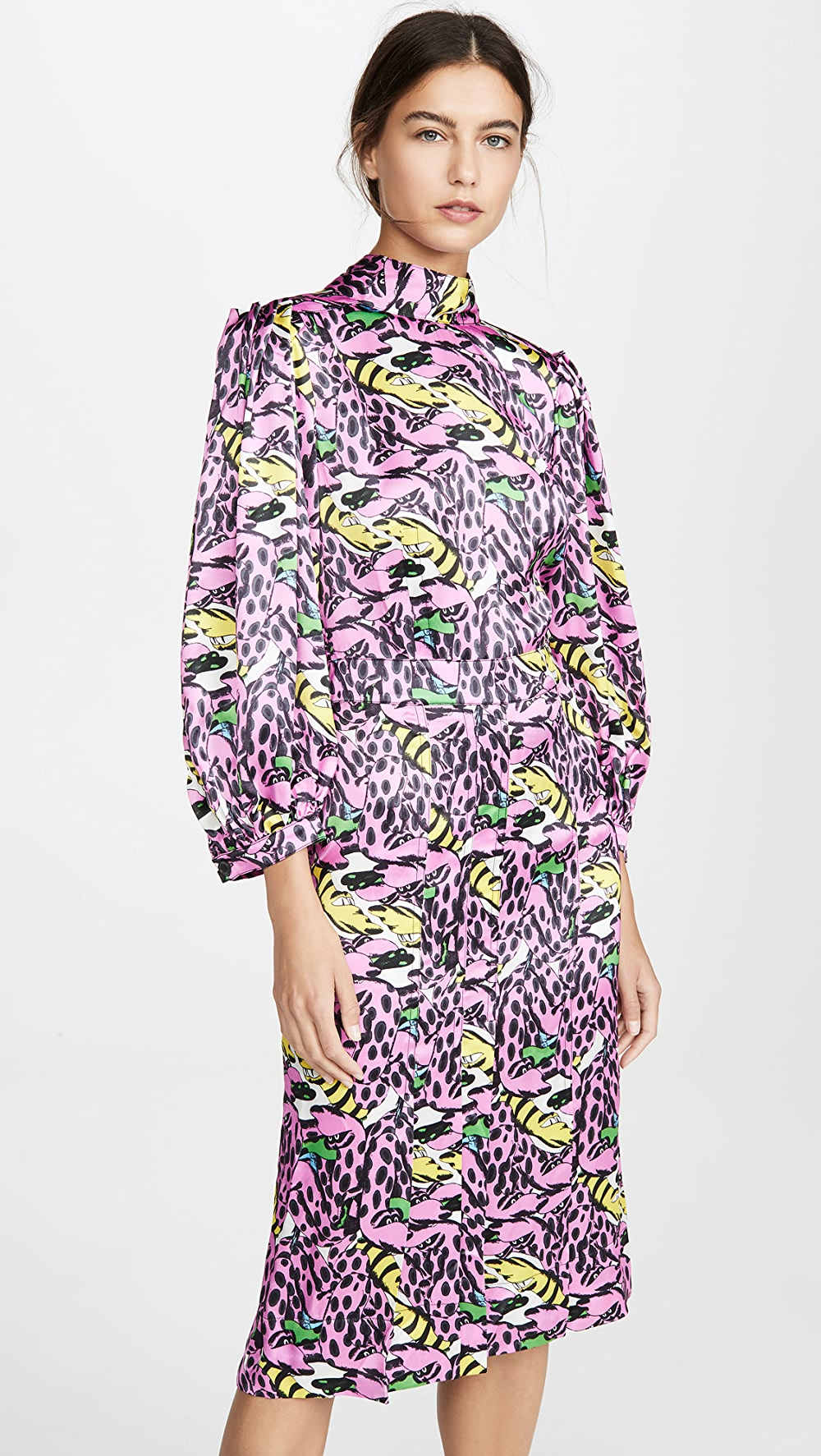 100% Quality Marni - Long Sleeve Printed Dress High Standard In Quality And Hygiene