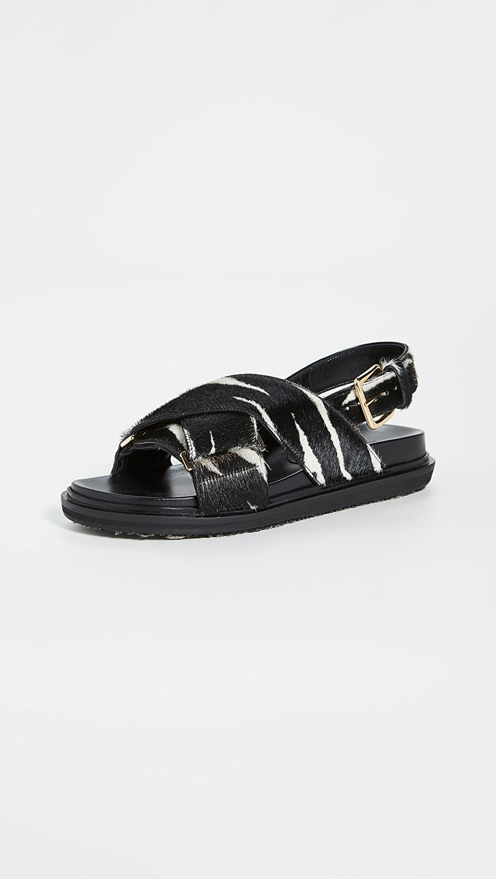 Able Marni - Animal Print Crisscross Sandals Limpid In Sight