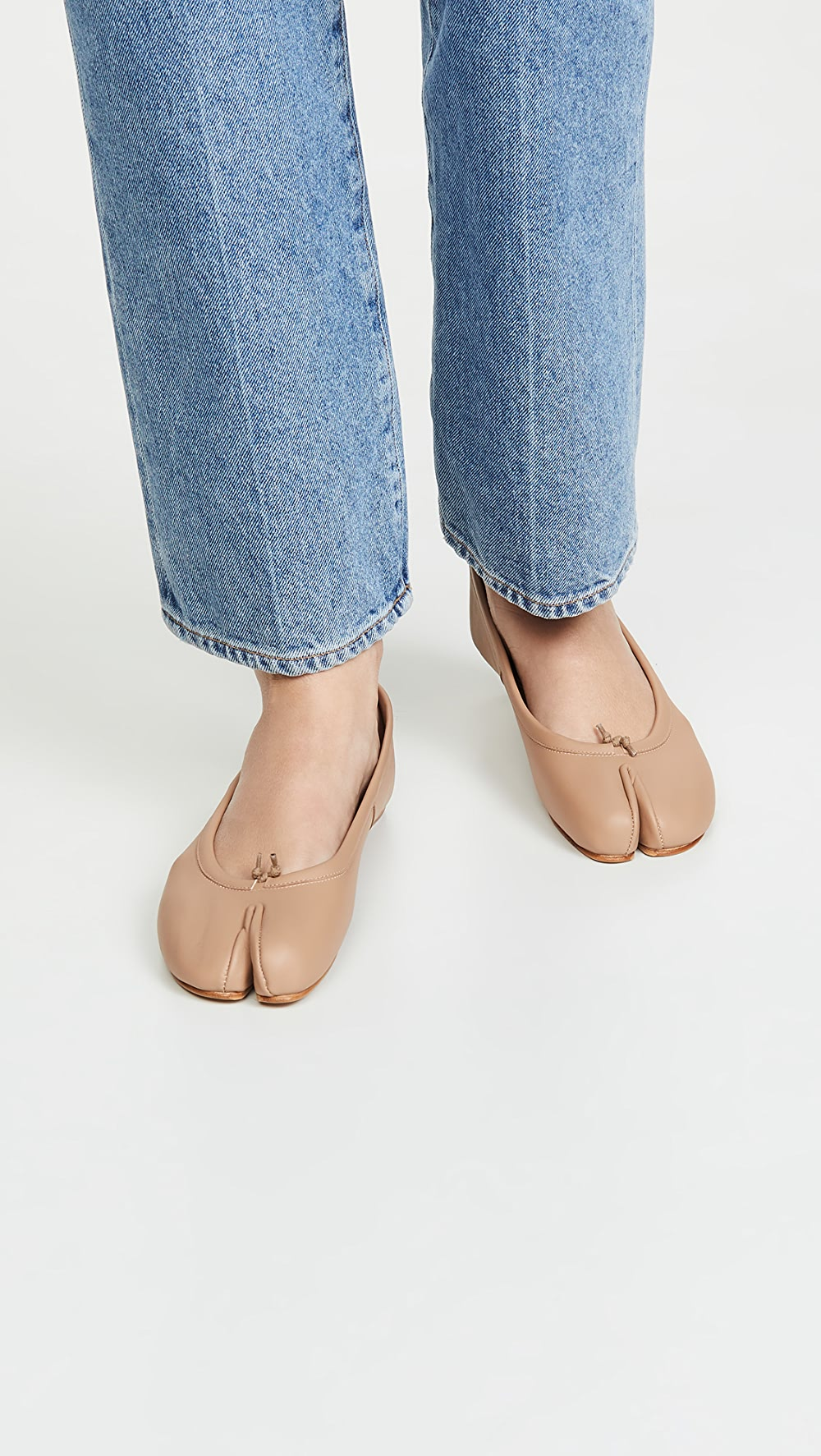 Humorous Maison Margiela - Faux Leather Tabi Flats Firm In Structure