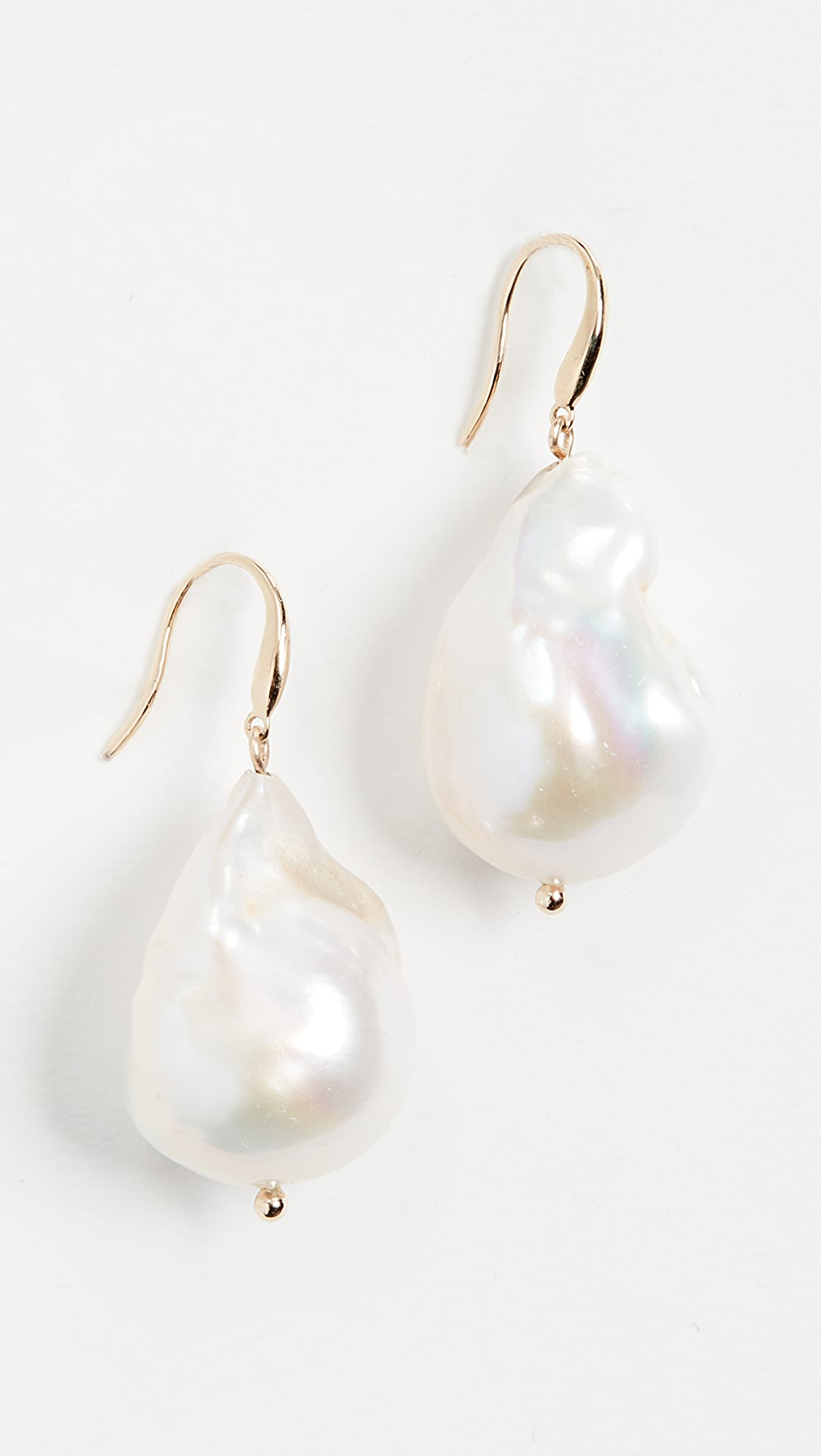 Aggressive Mateo - 14k Gold Baroque Pearl Drop Earrings Lustrous Surface