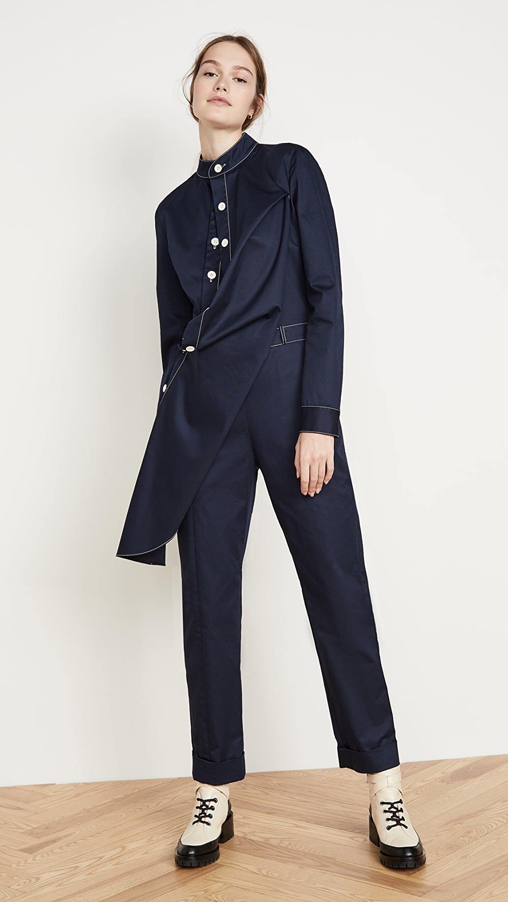 Aggressive Monse - Twill Contrast Stitch Jumpsuit Clearance Price