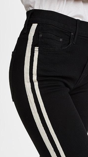 八分侧饰条纹牛仔裤展示图