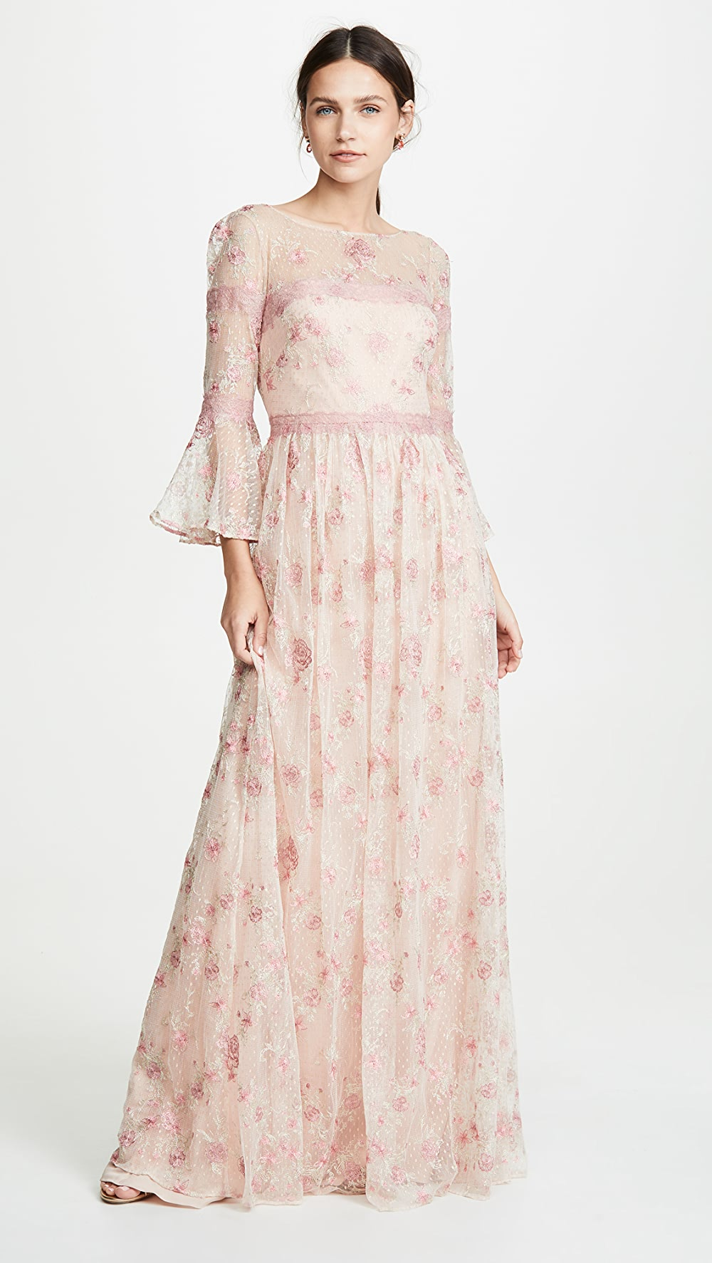 Professional Sale Marchesa Notte - Flounce Sleeve Embroidered A-line Gown Discounts Sale