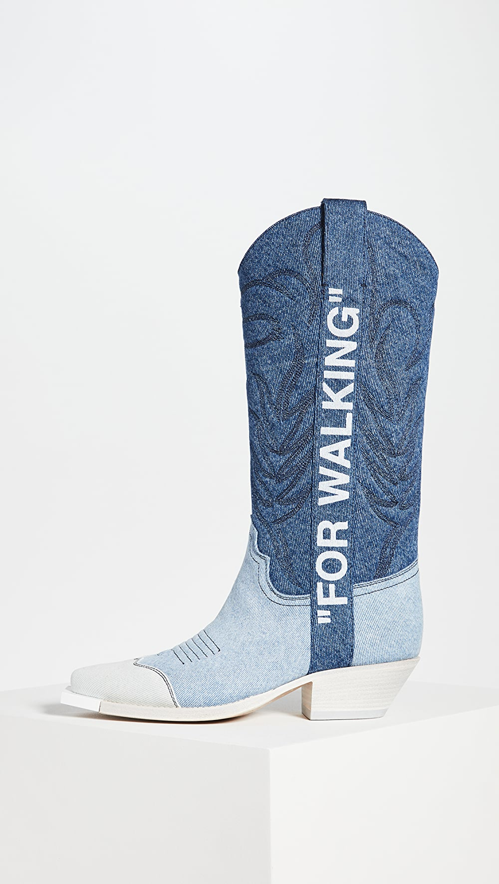 2019 New Style Off-white - Denim Cowboy Boots In Pain
