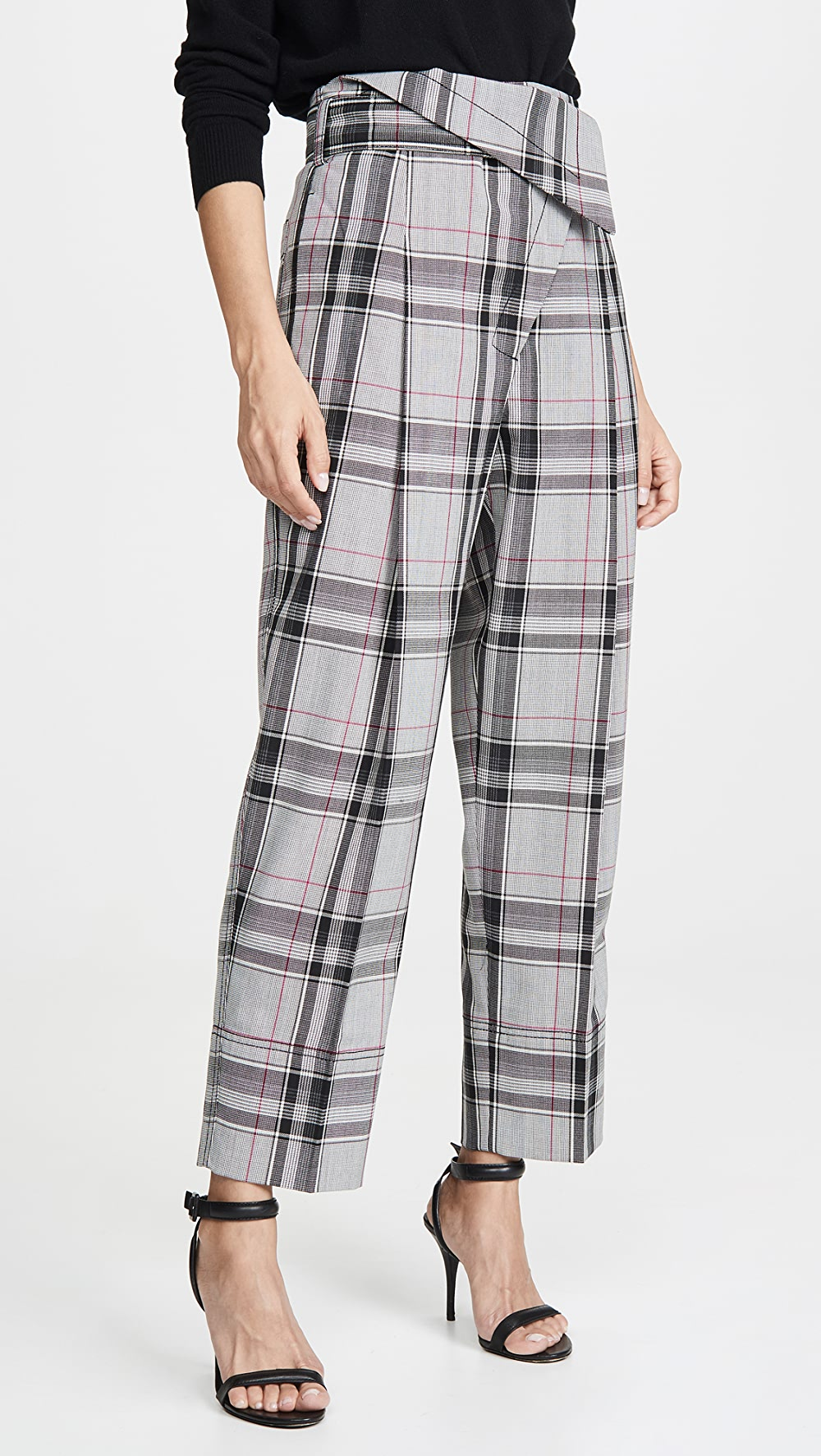 100% True 3.1 Phillip Lim - Plaid Belted Overlap Trousers Removing Obstruction