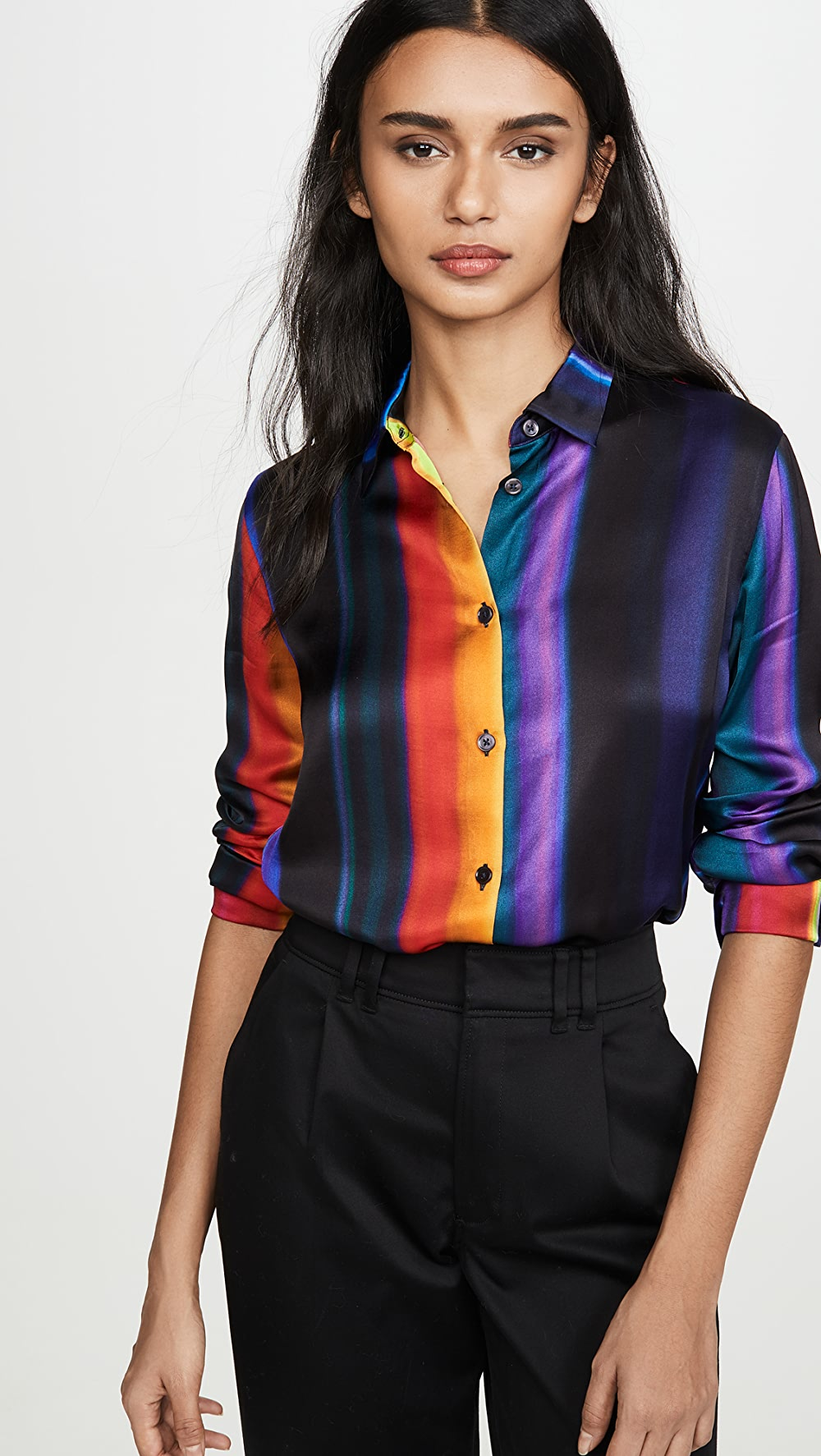 2019 Fashion Paul Smith - Rainbow Stripe Button Down Shirt Yet Not Vulgar