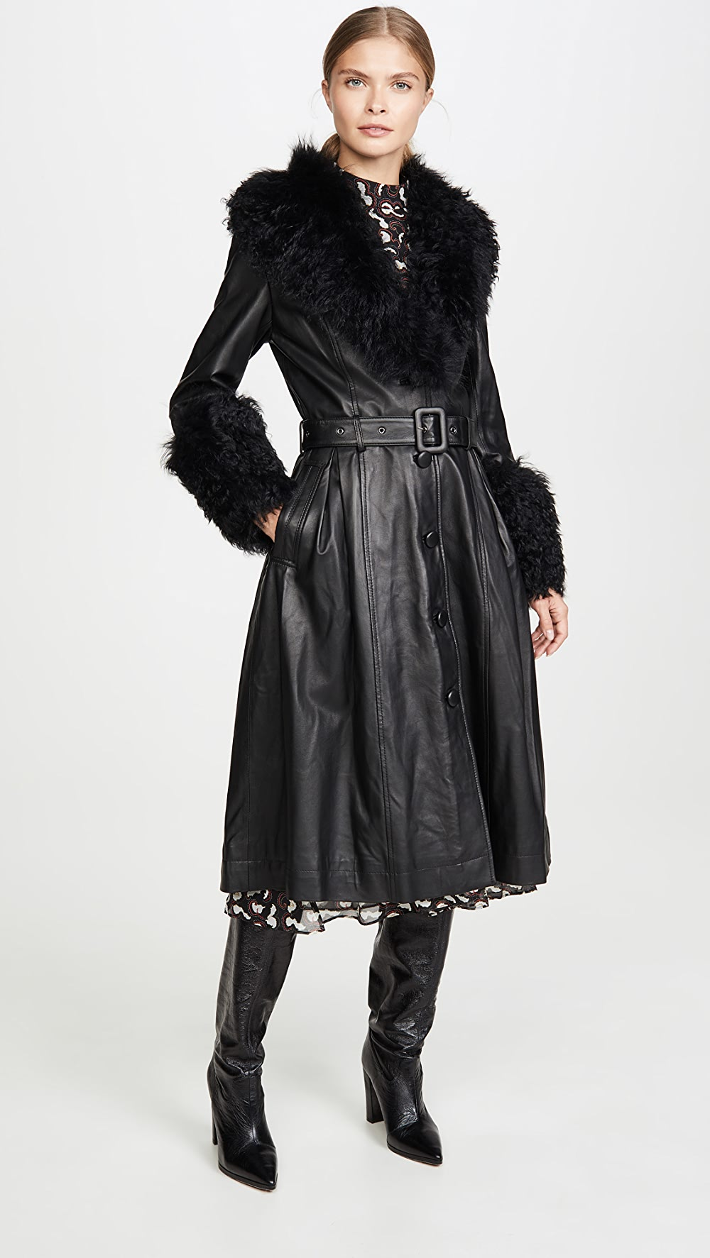 Active Saks Potts - Foxy Shearling Belted Coat Activating Blood Circulation And Strengthening Sinews And Bones