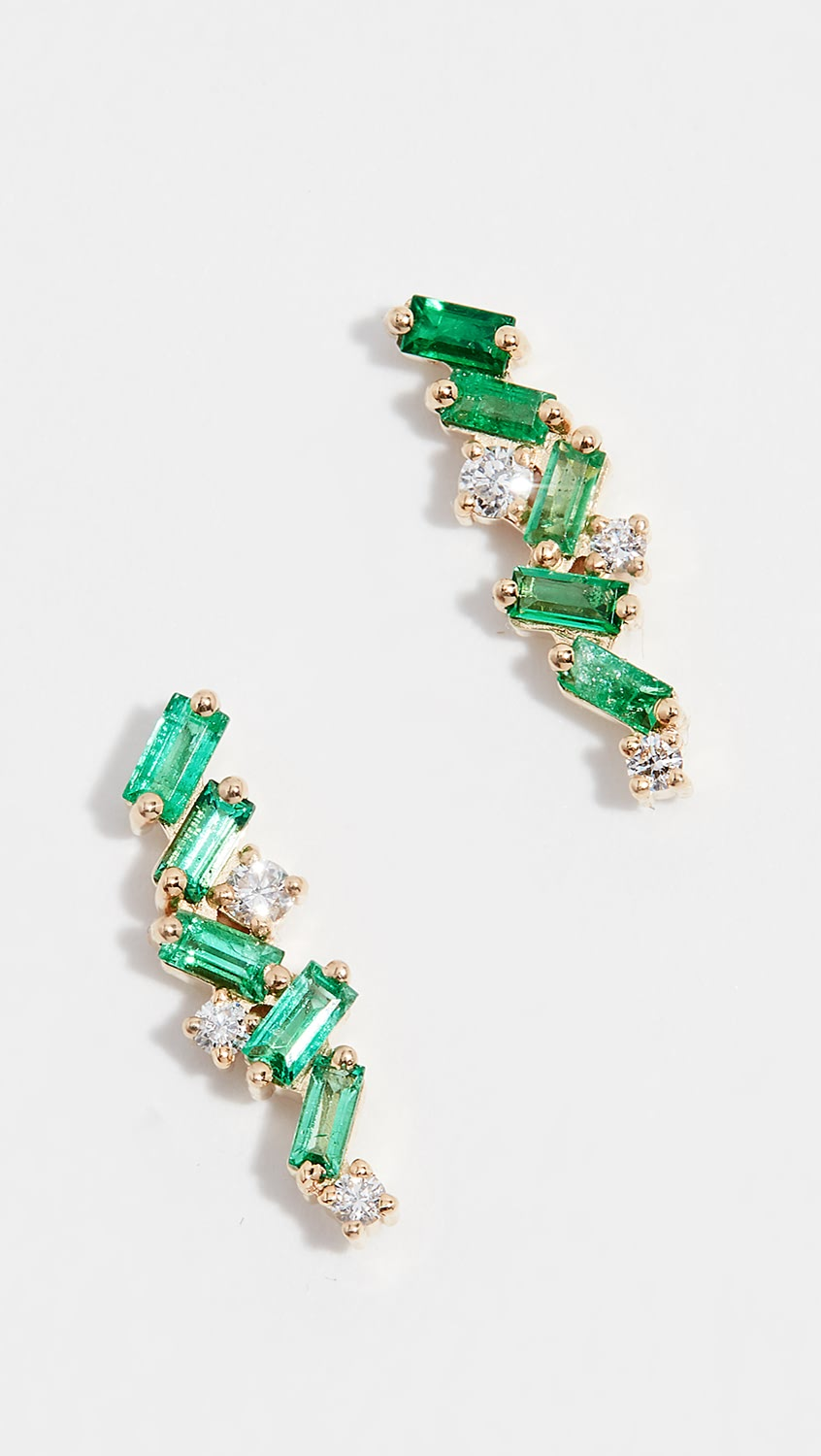 100% True Suzanne Kalan - 18k Gold Emerald Cluster Stud Earrings Cleaning The Oral Cavity.
