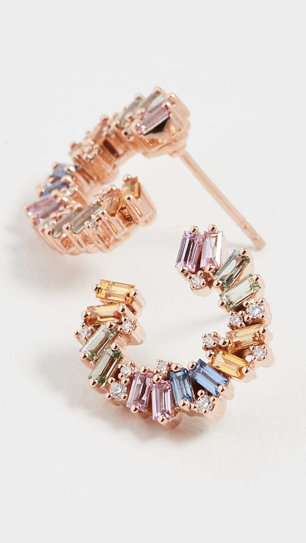 100% Quality Suzanne Kalan - 18k Rose Gold Pastel Rainbow Fireworks Spiral Hoop Earrings Skillful Manufacture