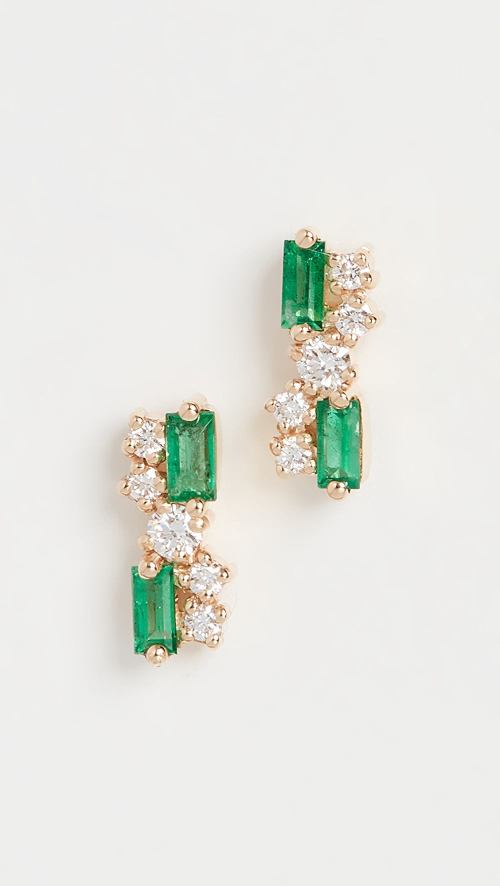 Audacious Suzanne Kalan - 18k Yellow Gold Fireworks Emerald Stud Earrings Bringing More Convenience To The People In Their Daily Life