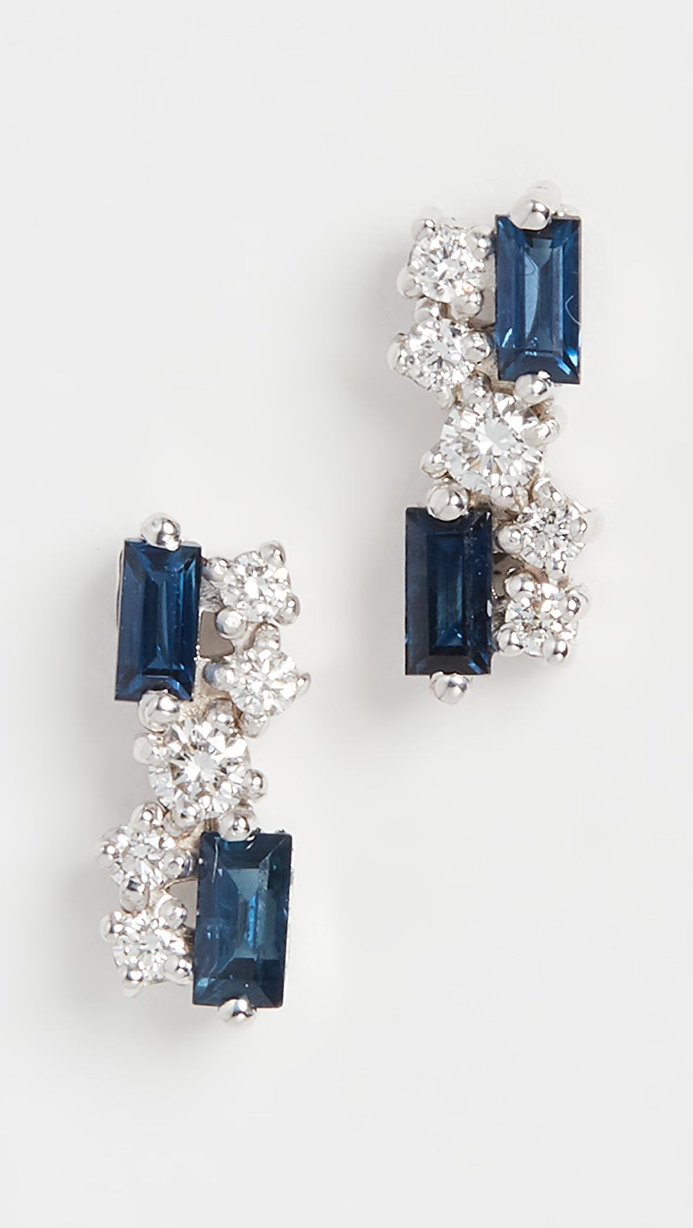 Candid Suzanne Kalan - 18k White Gold Blue Sapphire And Diamond Earrings Good Companions For Children As Well As Adults