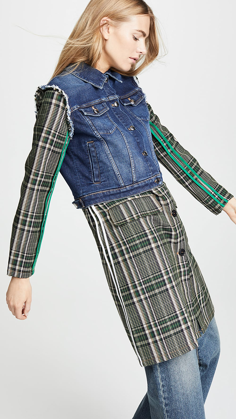Active Sonia Rykiel - Denim And Plaid Mixed Media Coat With The Best Service