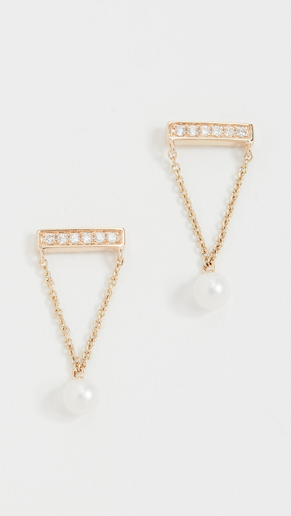 Careful Sydney Evan - 14k Gold Pearl Drop Diamond Bar Studs Bringing More Convenience To The People In Their Daily Life