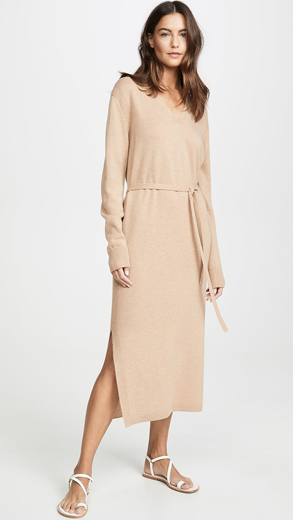 Imported From Abroad Vince - V Neck Slit Dress Clear-Cut Texture