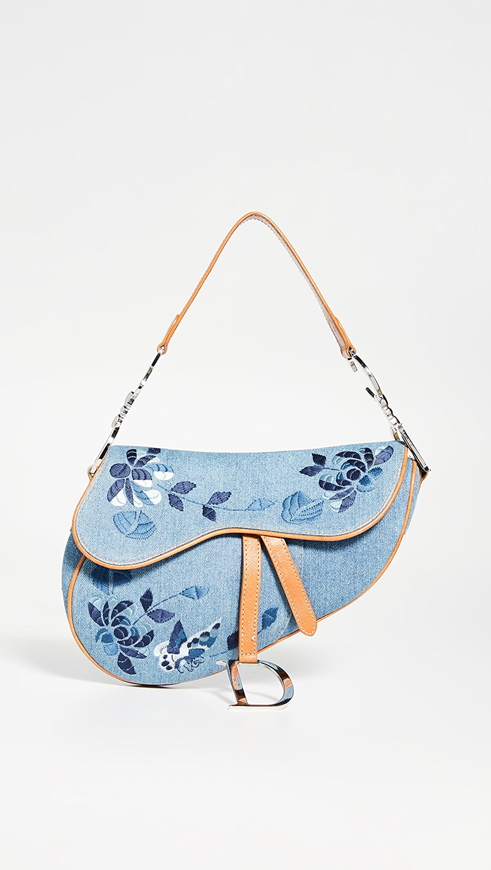 Just What Goes Around Comes Around - Dior Blue Denim Floral Saddle Bag Discounts Sale