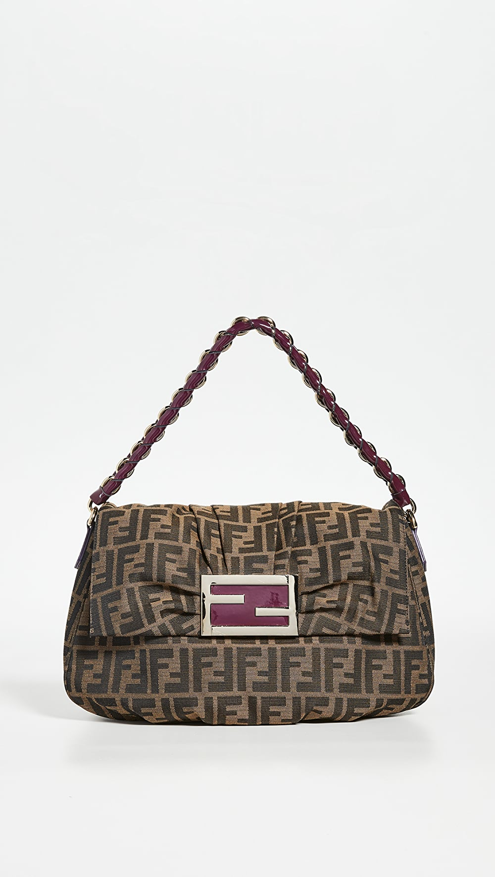 Charitable What Goes Around Comes Around - Fendi Purple Zucca Mia Shoulder Bag Drip-Dry