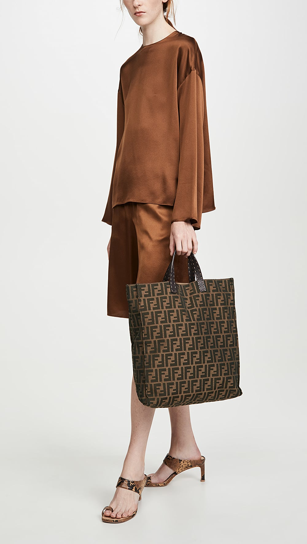 100% Quality What Goes Around Comes Around - Fendi Brown Zucca Tote Bag Elegant And Sturdy Package