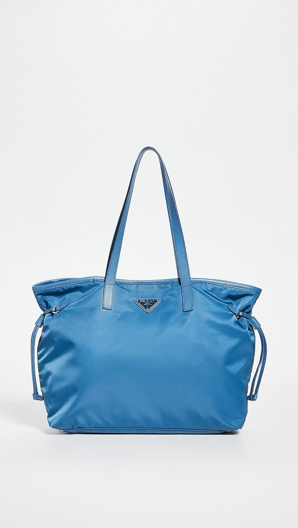 Aggressive What Goes Around Comes Around - Prada Blue Nylon Tote Attractive Fashion