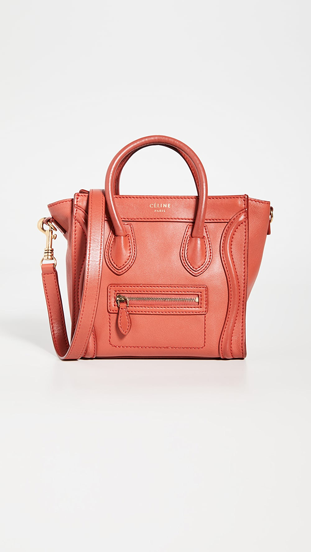 100% Quality What Goes Around Comes Around - Celine Red Smooth Luggage Nano Last Style