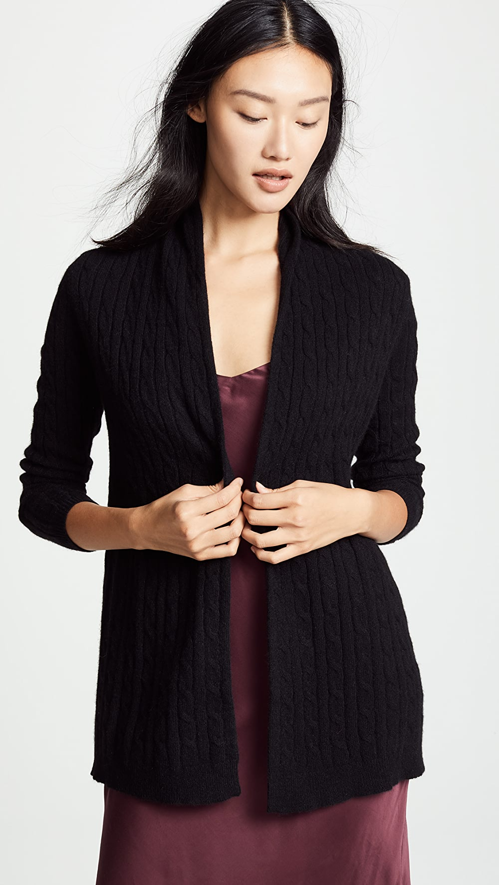 Able White + Warren - Cable Cashmere Cardigan Complete Range Of Articles