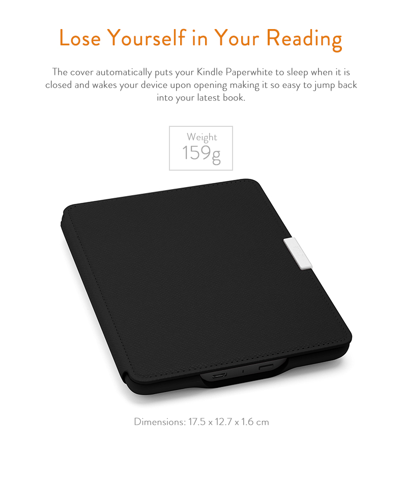 Amazon Kindle Paperwhite Leather Case Onyx Black Fits All