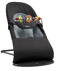 BABYBJORN 瑞典Bouncer Balance Soft 平衡型柔软婴儿摇椅 黑色/深灰色 纯棉面料含玩具