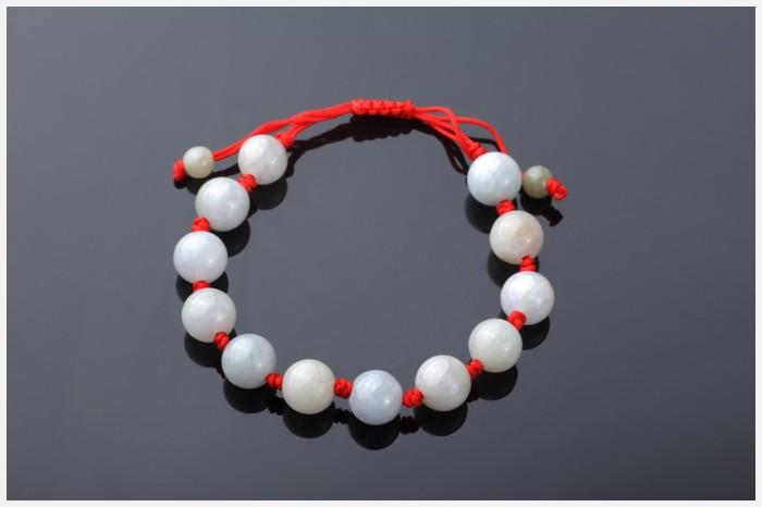 悦人-天然a货翡翠编绳手链(红绳)