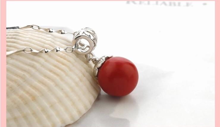 易燃火山 925纯银镶人造红珊瑚吊坠/项链 女款 红色圆形项坠 时尚复古