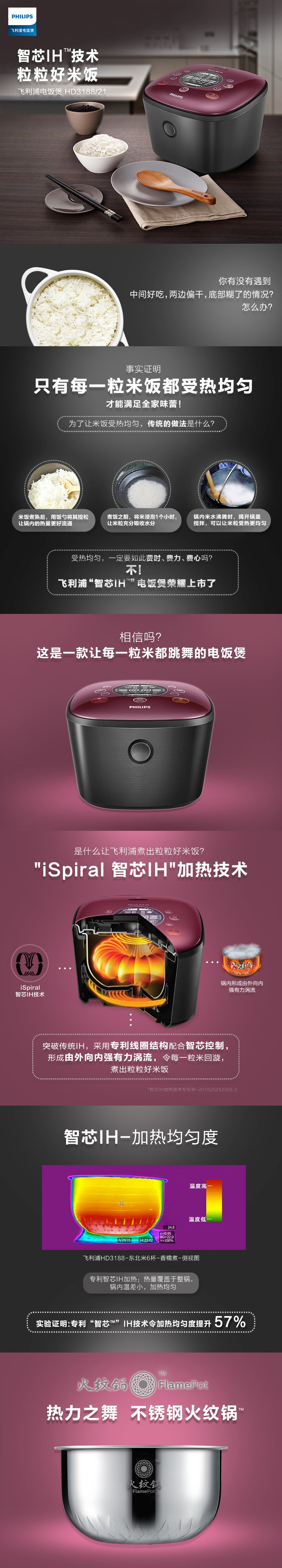 Philips 飞利浦 HD3188/21 智芯IH电饭煲