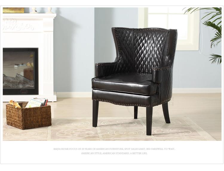 【百伽】 简约欧式/单人沙发椅/皮艺高背休闲椅子/售楼处洽谈桌椅