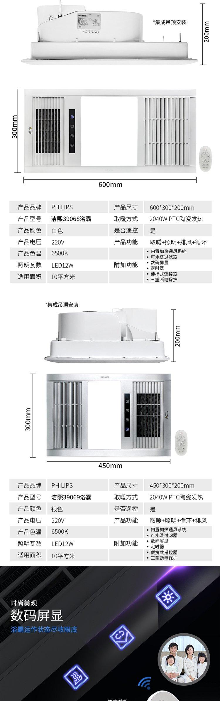philips 飞利浦 洁熙led集成吊顶遥控数码版浴霸 ptc暖风空调型 含